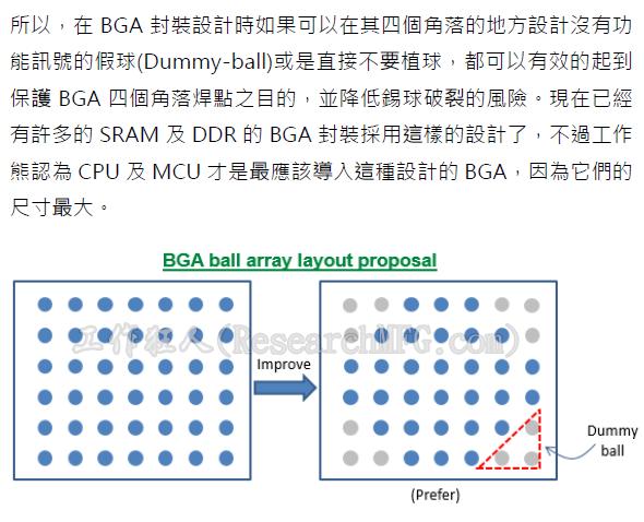 針對BGA封裝的四個角落不要設計錫球或使用Dummy-ball