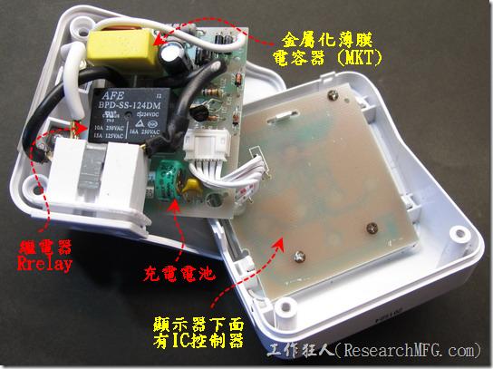 數位式定時器拆解。掀開後發現內裝也滿簡單的,主要零件就一個金屬化膜電容器(MKT),一個繼電器(relay)用來控制電源開啟或關閉,一個鎳氫充電電池,用來保持控制IC運轉的電力。