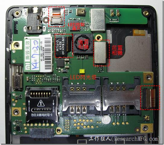 紅米的主板上背面的零件,有兩個SIM卡、一個Micro-SD卡連接器,耳機孔、LED閃光燈。想掀開主機板前必須先解開紅色框框的四個FPC連接器,還要小心不要被FPC上的連接器卡住。