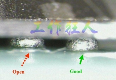 BGA錫球直徑變大,表示焊錫空焊(solder skip)