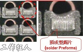 Apply the solder preforms