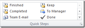 Outlook 2010 Quick Steps