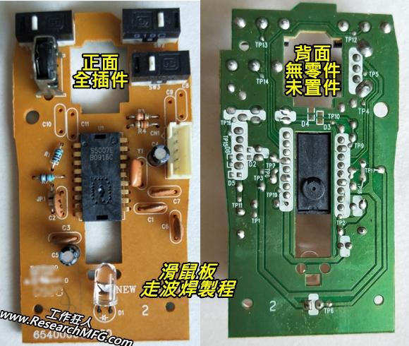 路板焊接製程方案一、單面板全直插件波焊製程