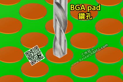 在PCB選定的BGA焊墊上鑽孔