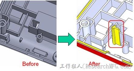 既然知道可能的問題出在電路板變形量過大,於是在電路板上黏貼應力計(Stress Gauge)然後先量測未改善前的應力數據。改善方法是在BGA的附近新增機溝肋柱(rib)來頂住電路板以降低電路板在落下時的變形量。