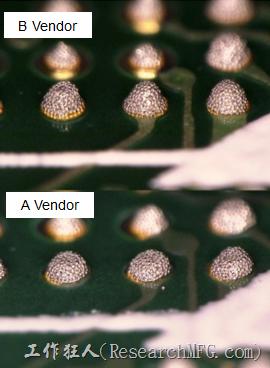 在所有錫膏印刷的條件都不變的情況下,實際使用這兩家不同PCB廠商所生產出來的電路板去印刷錫膏,量測其錫膏膏量後發現兩者的錫膏體積相差了將近16.6%。所以SMT工廠以此推論短路問題出在PCB廠商。