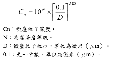ISO-14644-1無塵室粒子計算公式