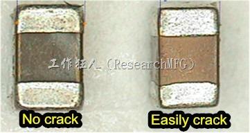MLCC陶瓷電容焊接端點尺寸與電容破裂的影響性