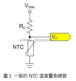 圖1是常見的應用線路,由一個串聯電阻Rs和NTC組成的分壓電路。透過類比轉數位轉換器(analog to digital converter以下簡稱ADC)量測分壓Vo可以得知該NTC所處的溫度。
