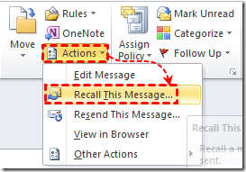 Outlook2010 recall Message