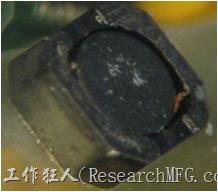 使用銀(Ag)鍍層的電源電感器(Power Inductors),經過推力測試後,零件端點上已經看不到任何鍍層的痕跡了,所以其耐推力就比較小。
