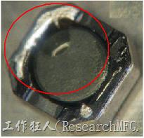 使用錫(Sn)鍍層的電源電感器(Power Inductors),經過推力測試後,其焊點還保留在零件的端點上,所以推力比較高。
