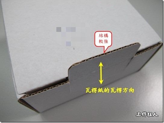 圖片顯示瓦楞的方向重植於箱底,卡扣地方的瓦楞也是垂直的方向,這樣的設計可以有效支撐反覆多次使用,也不易折彎變形。