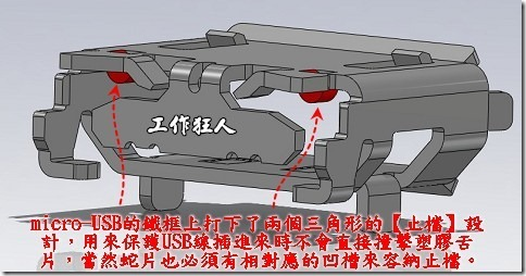 圖是有止檔設計的Micro-USB連接器鐵框,兩個紅色部份就是止檔,它可以止住USB排線插進來的力道,不至於讓排線過插到塑膠舌片。
