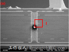 這兩張圖是實驗室切出來的報告,可以發現導電物質沿著玻璃纖維束的間隙滲透成長。