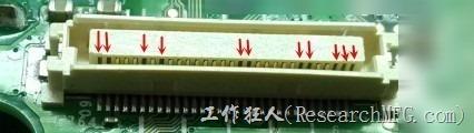 板對板連接器接觸彈片下陷。