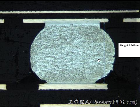 下面這張圖的BGA錫球焊接算還可以接受,球形也有壓扁形成水平橢圓形的焊錫,但還是看得出來靠近PCB端的錫球還是有點被拉開的情形。