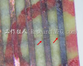 FPC軟板銅箔線路斷裂。