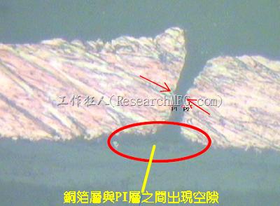 軟板的銅箔曾與PI層之間出現空隙造成銅箔線路斷裂。
