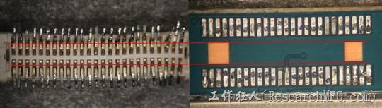 把板對板連接器與其電路板的佈線焊墊作一個比較,端子的切斷面有毛邊的地方剛好對到了裸銅區。